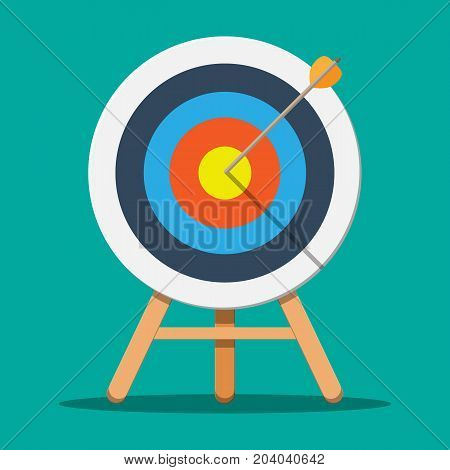 Target on wooden tripod with arrow in cente. Goal setting. Smart goal. Business target concept. Achievement and success. Vector illustration in flat style