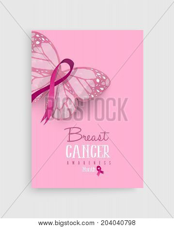 Pink Breast Cancer Butterfly Ribbon Art Poster