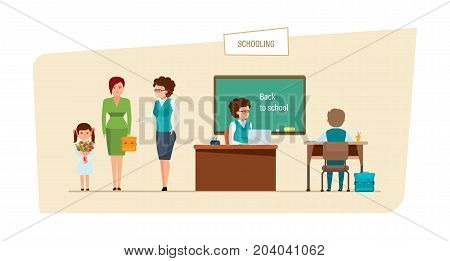 Schooling concept. Education in school. Mom brought a new school year to a child's school. Classes and lesson in the classroom. Back to school. Illustration isolated in cartoon style.