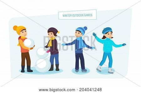 Winter outdoor games concept. Kids playground, amusement park and relax. Small children make a winter snowman, skate, play on the playground. Illustration in cartoon style.