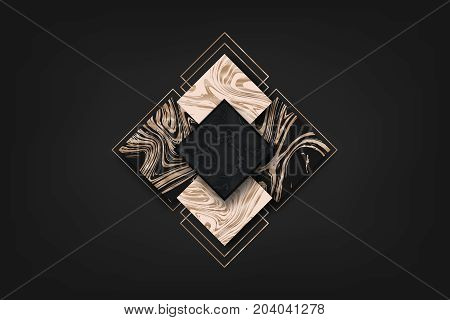 Luxury abstract background geometric shapes. Liquid rose gold. Vector Marbling pattern.