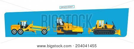 Construction machinery concept. Construction machines, trucks, vehicles for transportation, asphalt. Vector illustration isolated on white background.