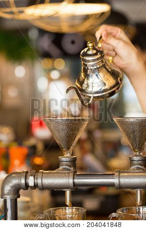 Coffee Drip Style, Show Of Drip Coffee.selective Focu
