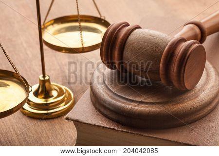 Wooden hammer judge objects background brown dark