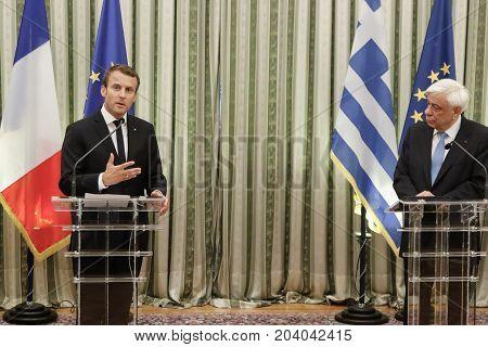French President Emmanuel Macron With His Wife Brigitte Tronier In Greece
