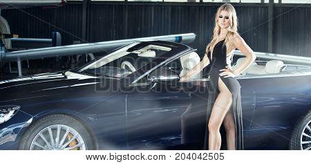 Elegant Blonde Luxury Woman Posing.