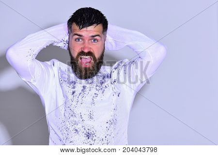 Man With Mad Face On Light Grey Background, Copy Space