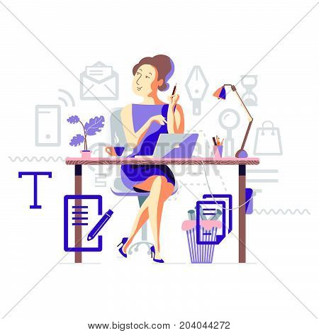 Business process of copywriting. Copywriter woman with pencil in hand sitting on office chair at table behind laptop. Concept vector illustration.