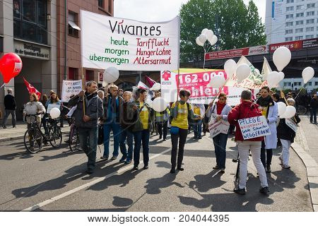 BERLIN - MAY 01 2015: Members of trade unions and the workers hold a rally on the occasion of Labour Day.