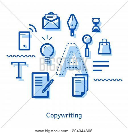 Business advertising copywriting. Doodle on the topic of copywriting with icons: ideas, pen, hourglass, bag, pencil, mobile phone, letters, document. Linear concept of vector illustration.