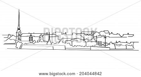 Vector black outline illustration of panorama with the city granite embankment Peter and Paul fortress and Aurora cruiser