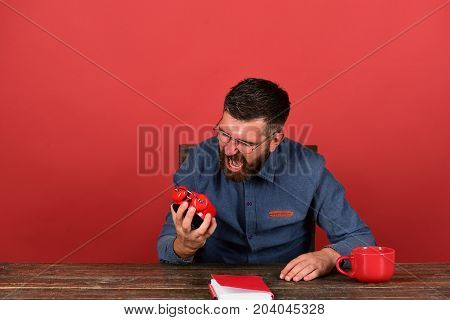 Exam and studying concept. Man with furious face sits at wooden desk. Cup retro clock and red book on vintage table. Professor with beard and glasses holds and yells at alarm clock red background poster