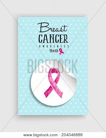 Breast Cancer Awareness Pink Low Poly Bow Poster
