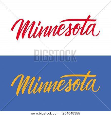 Handwritten U.S. state name Minnesota. Calligraphic element for your design. Vector illustration.