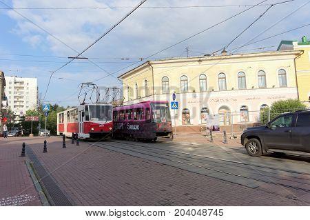 Nizhny Novgorod, Russia. - September 12.2017 Two tramway route 21 met on Bolshaya Pokrovskaya street