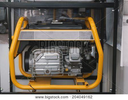 Gasoline Portable Generator close up view, horizontal shot