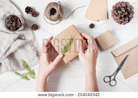 Female Hands Holding The Craft Gift Box With Branch