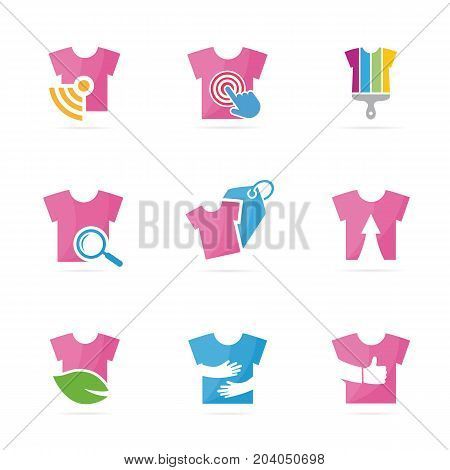 Set of t-shirt logo combination. Garment and cloth symbol or icon. Unique apparel and fashion logotype design template.