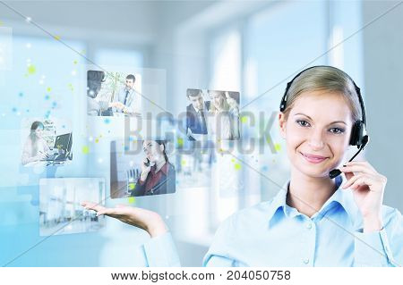 Business young woman headset businesswoman looking at camera office worker