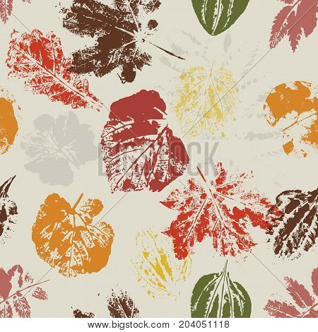 Seamless pattern with stamp leaves. Endless texture for nature design. Hi detailed. Vector illustration for paper, wallpapers, textile, web. Vintage design. Autumn color gamma