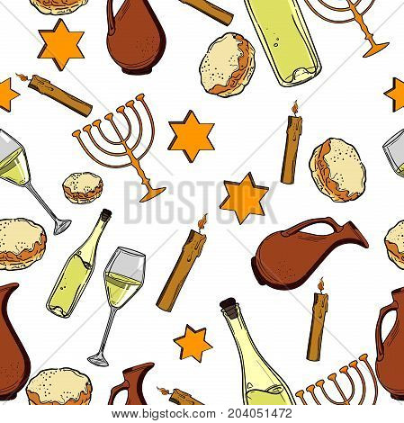 Seamless pattern with Hanukkah symbols. Israel festival objects and symbols. Vector illustration