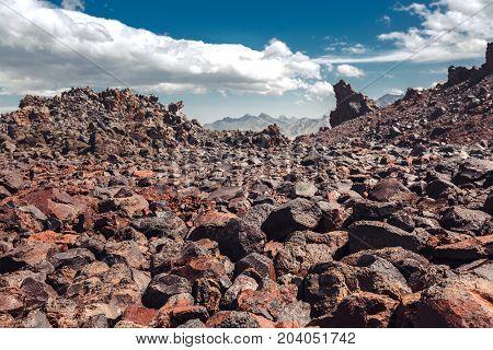 Volcanic Rock Mountain Desert In Mountains Of North Caucasus. Elbrus Region Russia