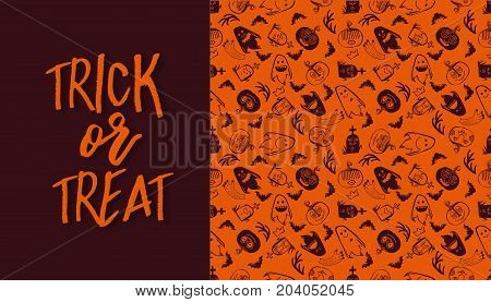 Halloween seamless pattern with frame and Trick or treat calligraphy text. Vector background. Ornament for greeting card or takeaway cup. Orange colors