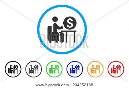 Banker Office icon. Vector illustration style is a flat iconic banker office grey rounded symbol inside light blue circle with black, gray, green, blue, red, orange color versions. poster