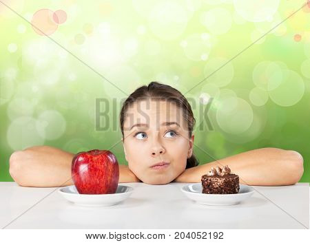 Young woman attractive sweet food low fat organic food organic product