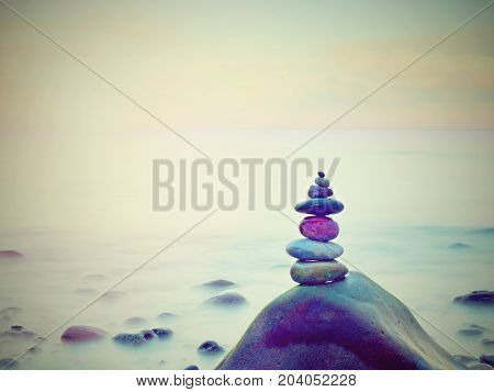 Stones Balance On Rounded Stone At Sea, Concept Inspiration. Beautiful Landscape Background