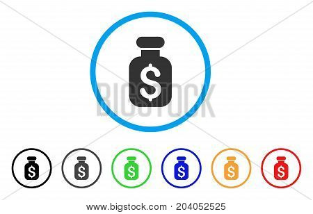Business Remedy icon. Vector illustration style is a flat iconic business remedy grey rounded symbol inside light blue circle with black, gray, green, blue, red, orange color versions.