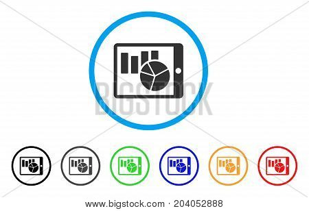 Charts On PDA icon. Vector illustration style is a flat iconic charts on PDA grey rounded symbol inside light blue circle with black, gray, green, blue, red, orange color additional versions.
