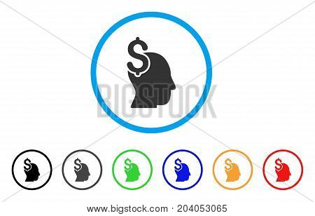 Commercial Intellect icon. Vector illustration style is a flat iconic commercial intellect grey rounded symbol inside light blue circle with black, gray, green, blue, red,
