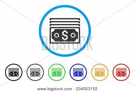 Dollar Banknotes icon. Vector illustration style is a flat iconic dollar banknotes gray rounded symbol inside light blue circle with black, gray, green, blue, red, orange color versions.
