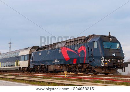 Vordingborg Denmark - April 2017: DSB ME train with passenger wagons