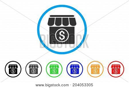 Market icon. Vector illustration style is a flat iconic market grey rounded symbol inside light blue circle with black, gray, green, blue, red, orange color additional versions.
