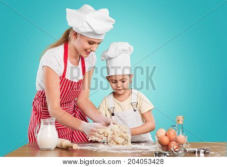 Girl baking together mother fun beautiful happy