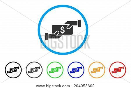Payment icon. Vector illustration style is a flat iconic payment grey rounded symbol inside light blue circle with black, gray, green, blue, red, orange color versions.