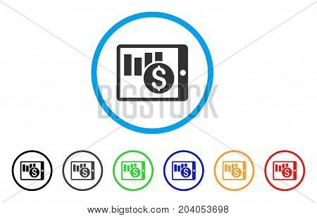 Sales Chart On PDA icon. Vector illustration style is a flat iconic sales chart on PDA gray rounded symbol inside light blue circle with black, gray, green, blue, red,