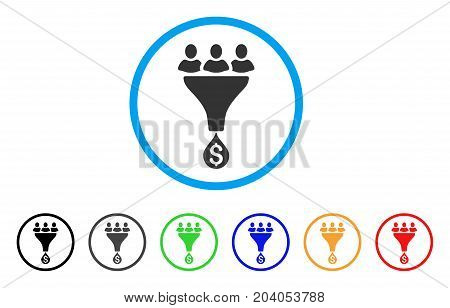 Sales Funnel icon. Vector illustration style is a flat iconic sales funnel gray rounded symbol inside light blue circle with black, gray, green, blue, red, orange color versions.