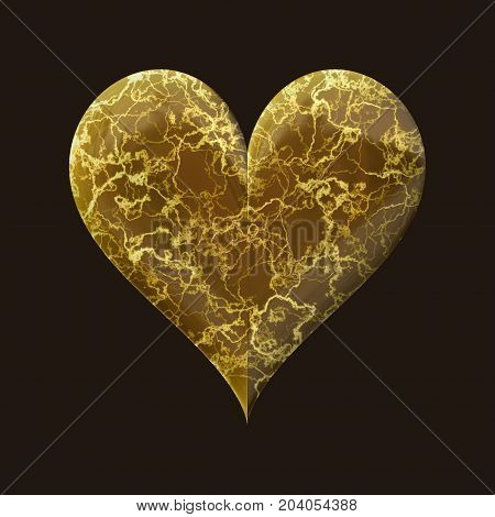 Marble golden veins decorative 3d heart on black background