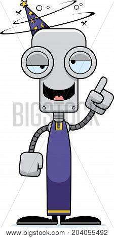 Cartoon Drunk Wizard Robot