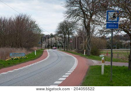 Road Near Praesto Fjord In Denmark