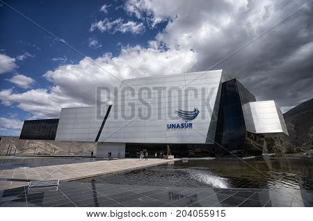 August 1 2016 Quito Ecuador: modern architecture of the UNASUR building which was built on the equator hosting the united nations of South America