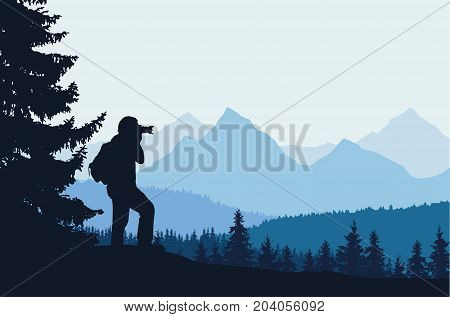 Vector illustration of a mountain landscape with trees and a human being photographed under a blue-gray sky with space for text