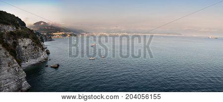 Amalfi Coast and boats sailing in the Gulf of Salerno