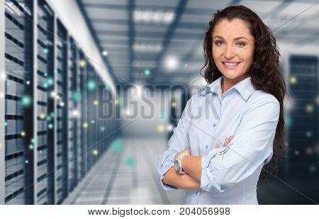 Young woman room server young adult big data background