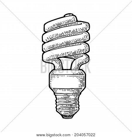 Energy saving spiral lamp. Vector vintage black engraving illustration on white background
