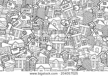 Real estate concept cartoon doodles background design. Hand drawn black and white outline coloring page vector illustration.