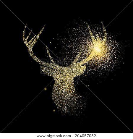 Gold Deer Glitter Concept Icon Symbol Illustration